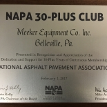 MEEKER IS NOW PART OF THE NAPA 30-PLUS CLUB!
